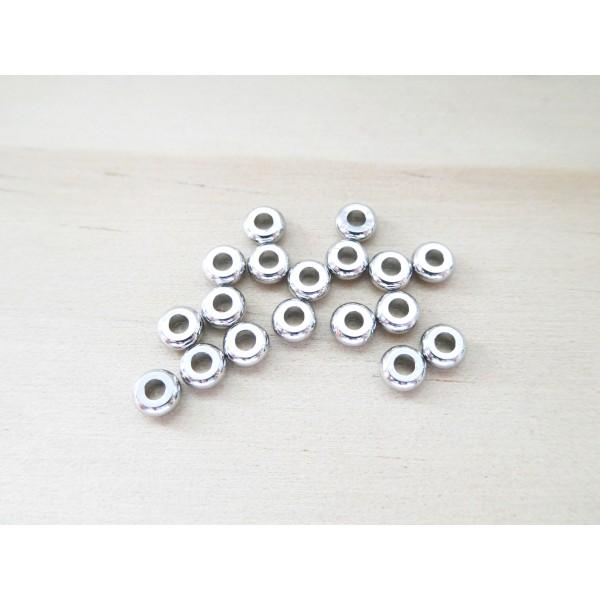 10 Perles rondelles style heishi 4mm laiton argent platine, perles intercalaires - Photo n°1