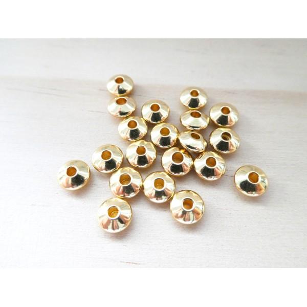 6 Perles rondelles, intercalaires 5.5*3mm acier inox doré - Photo n°1