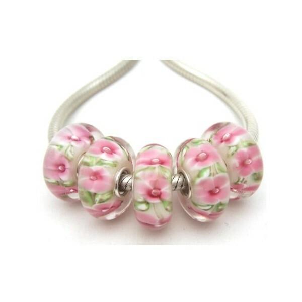 1 perle européenne verre de Murano 8 x 15 mm argent FLEUR ROSE FEUILLAGE VERT - Photo n°1