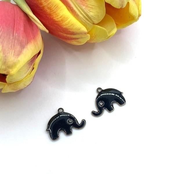 2 Sequins Petits Elephants Noirs, Breloques émaillées Eléphant, 16*14 mm - Photo n°1