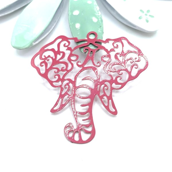 1 Pendentif Eléphant Tête, Estampe Filigrane Elephant, Animal, Elephant Vieux Rose, 40 mm - Photo n°1