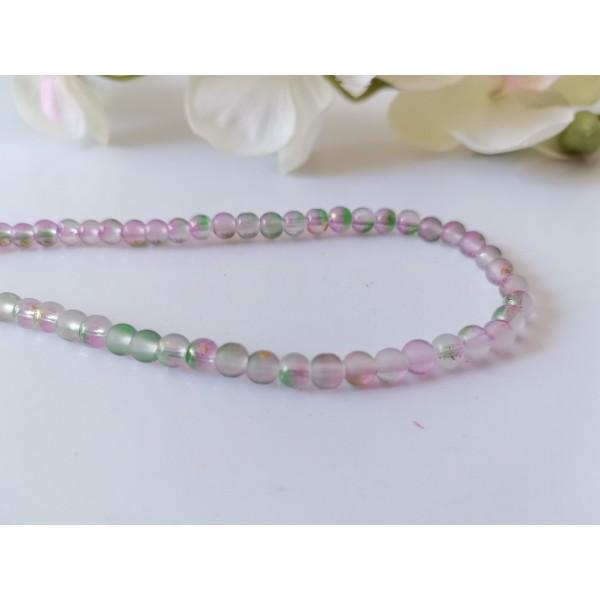 Perles en verre givré 4 mm vert mauve feuille d'or x 23 - Photo n°1