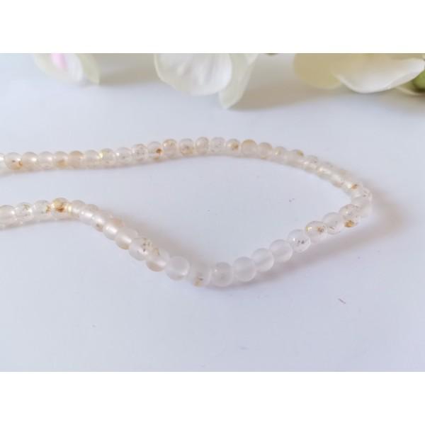 Perles en verre givré 4 mm orange clair feuille d'or x 23 - Photo n°1