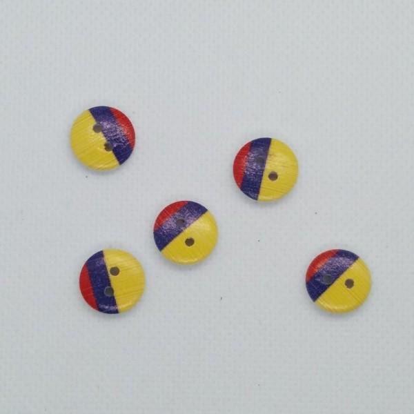 5 Boutons en bois - jaune bleu rouge - 13mm- bri490n11 - Photo n°1