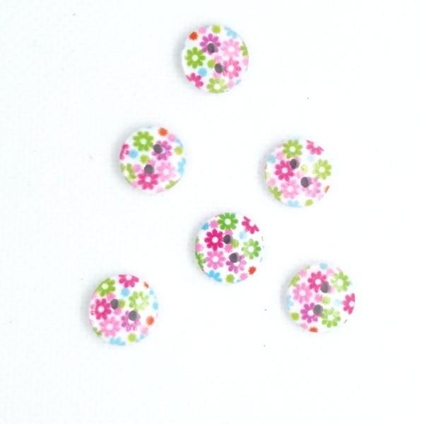 6 Boutons en bois - petite fleur - 13mm- bri490n5 - Photo n°1
