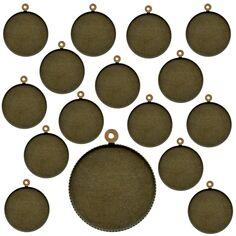 Lot de pendentifs cabochon - Rond - 24 mm - Bronze - 25 pcs