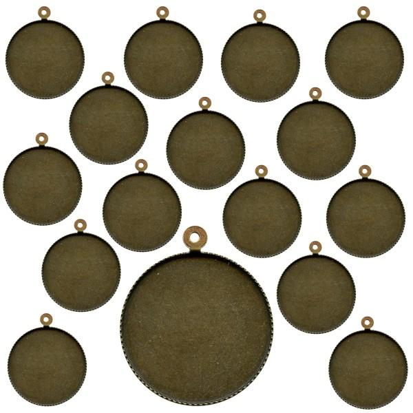 Lot de pendentifs cabochon - Rond - 24 mm - Bronze - 25 pcs - Photo n°1