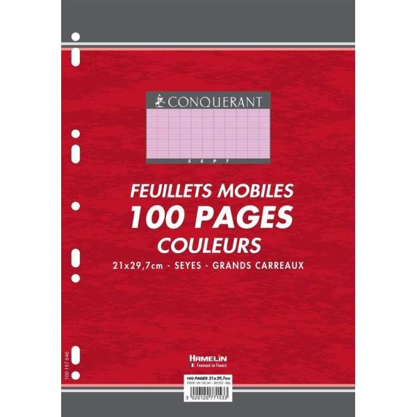 Feuillets mobiles 210x297 mm, 100 pages - Séyès - Rose - Photo n°1