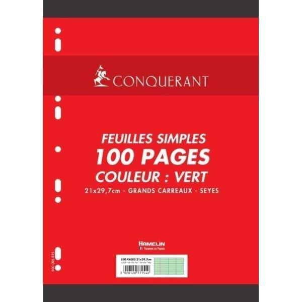 Feuillets mobiles 210x297 mm, 100 pages - Séyès - Vert - Photo n°1