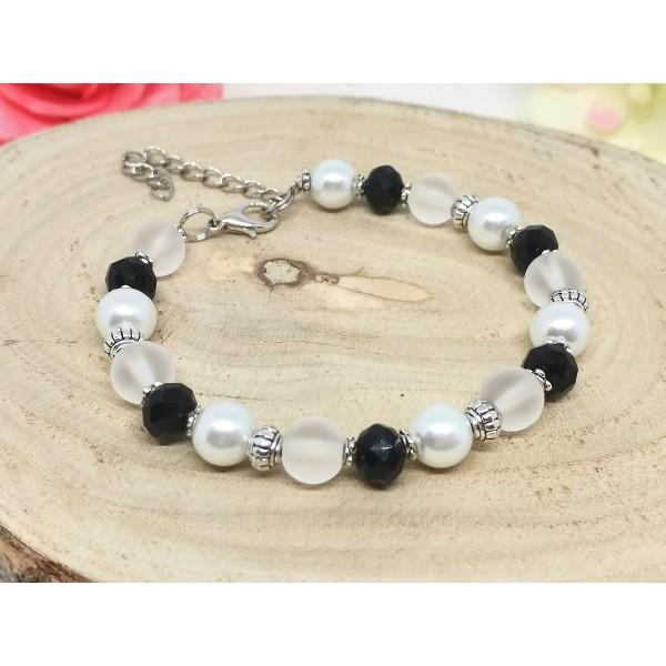 Kit bracelet perles en verre noire et blanche - Photo n°2