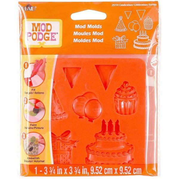 Moule Mod Mold Célébration, 7 designs, Planche 95 x 95 mm en silicone extra flexible anniversaire - Photo n°3