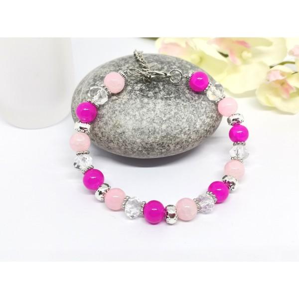 Kit bracelet ajustable perles en verre rose et cristal - Photo n°2