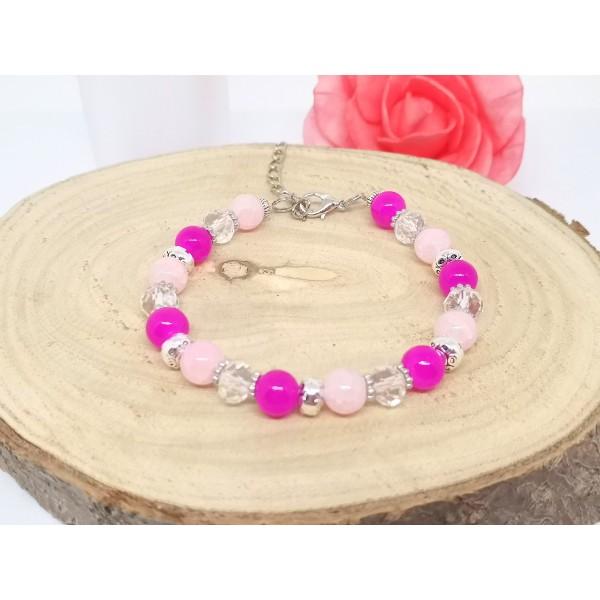 Kit bracelet ajustable perles en verre rose et cristal - Photo n°3