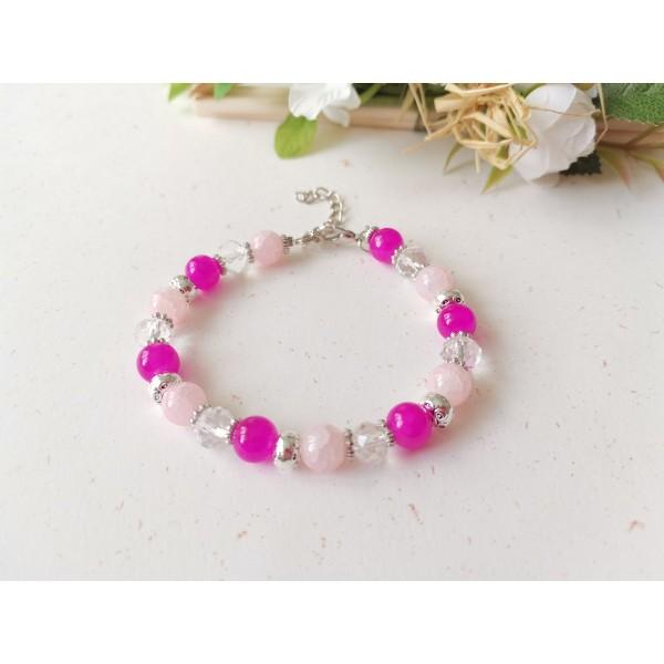 Kit bracelet ajustable perles en verre rose et cristal - Photo n°1