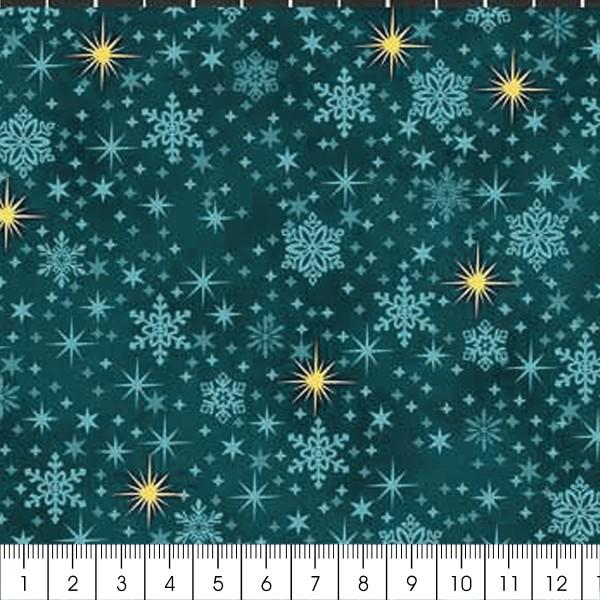 Tissu Coton Noël - Flocons - Vert Canard - Vendu par 10 cm - Photo n°2