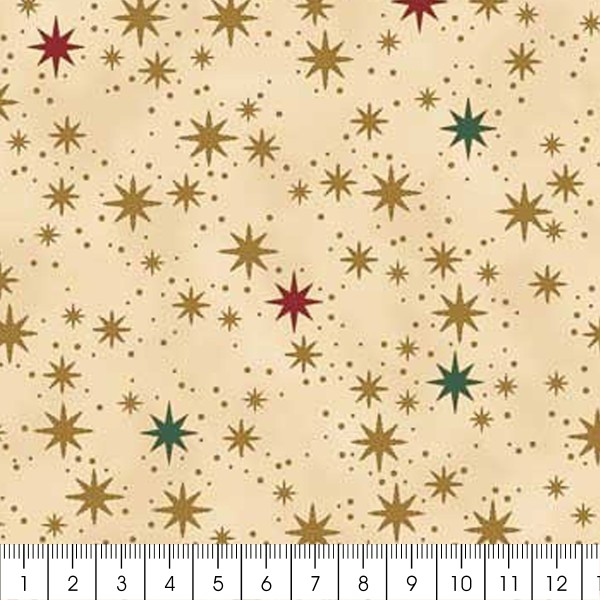 Tissu Coton Noël - Ciel étoilé - Vendu par 10 cm - Photo n°2