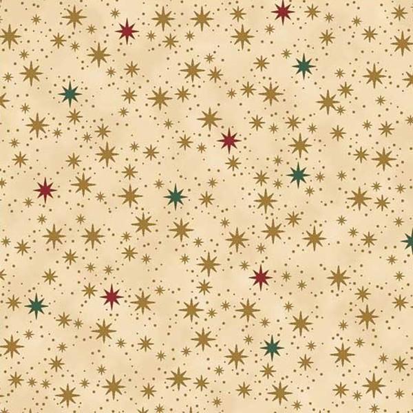 Tissu Coton Noël - Ciel étoilé - Vendu par 10 cm - Photo n°1