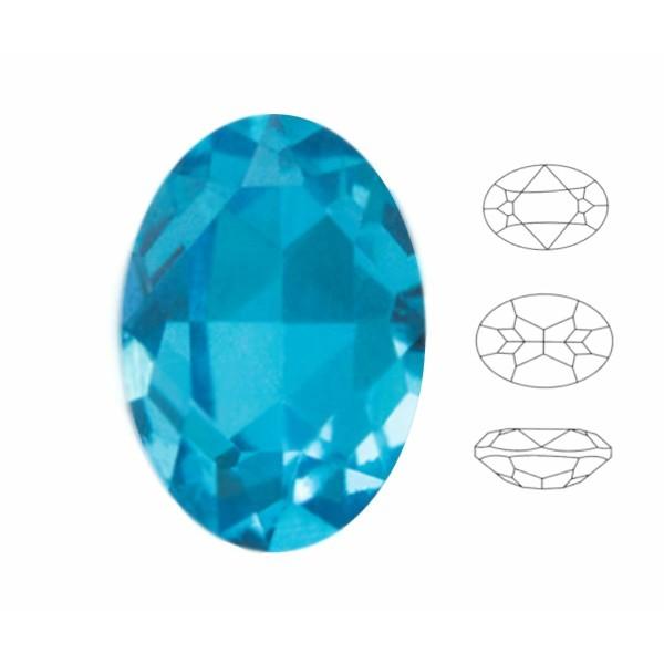 4 pcs Izabaro Cristal Aigue-Marine Bleu 202, Ovale Fantaisie Pierre, Cristaux de Verre, 4120 Izabaro - Photo n°1