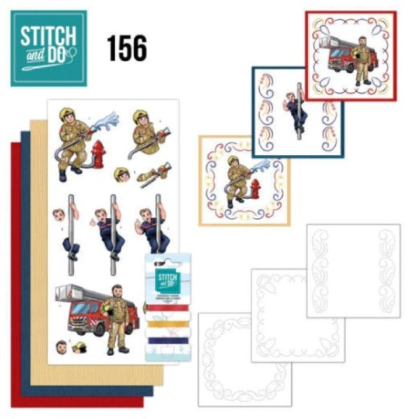 Stitch and do 156 - kit Carte 3D broderie - Les pompiers - Photo n°1