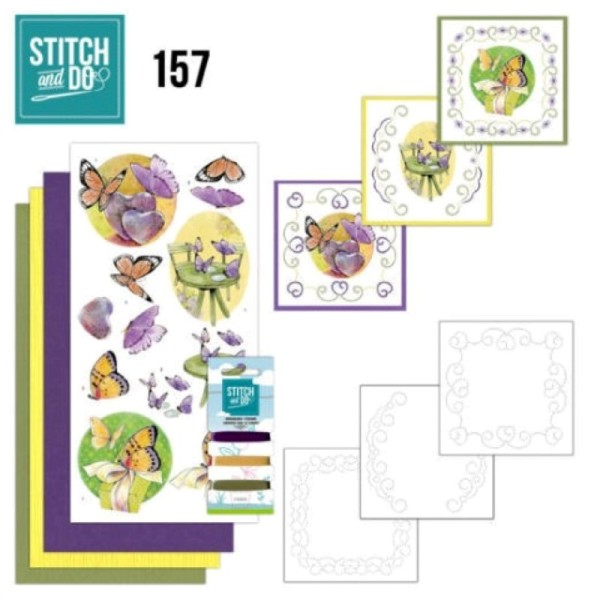 Stitch and do 157 - kit Carte 3D broderie - Les papillons - Photo n°1