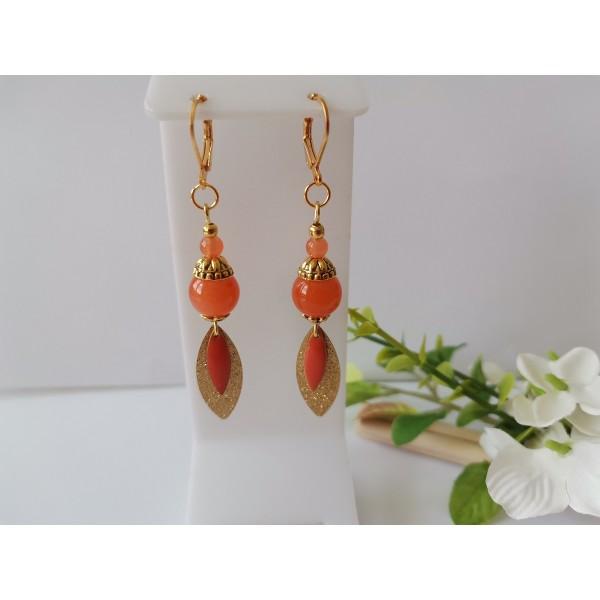 Kit boucles d'oreilles pendentif dague doré et perles oranges - Photo n°2
