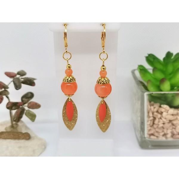Kit boucles d'oreilles pendentif dague doré et perles oranges - Photo n°1