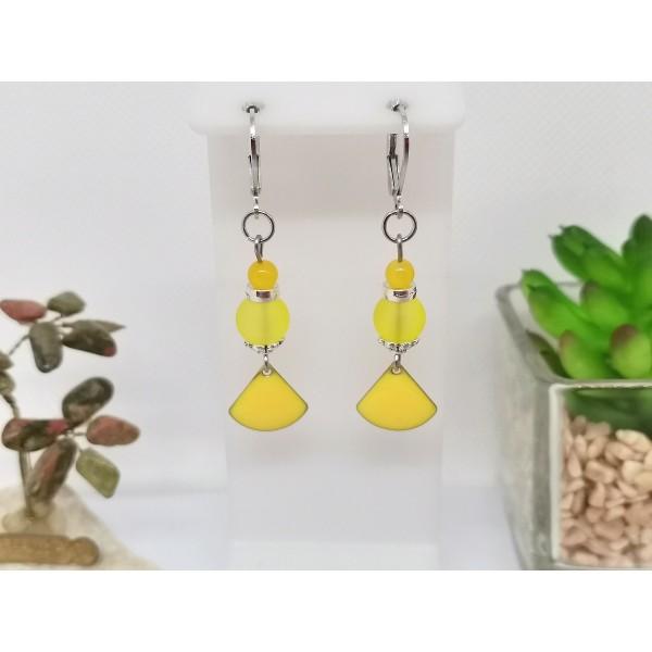 Kit boucles d'oreilles apprêts argent mat et sequin émail jaune - Photo n°1