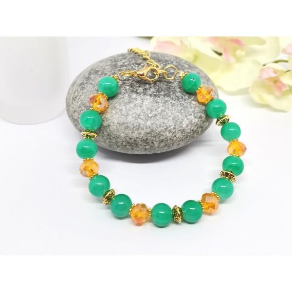 Kit bracelet ajustable perles en verre vertes et à facette orange - Photo n°2