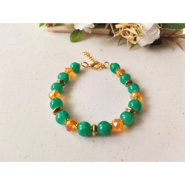 Kit bracelet ajustable perles en verre vertes et à facette orange - Photo n°1