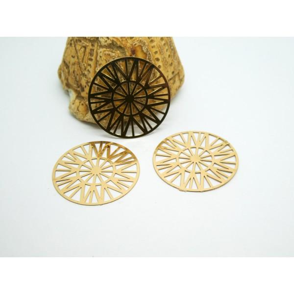 2 Estampes filigranées rondes Soleil 25mm en cuivre doré - Photo n°1