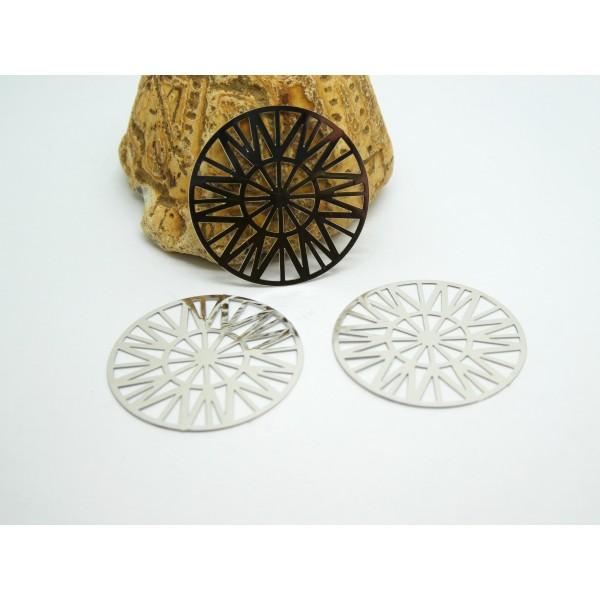 2 Estampes filigranées rondes Soleil 25mm argenté - Photo n°1