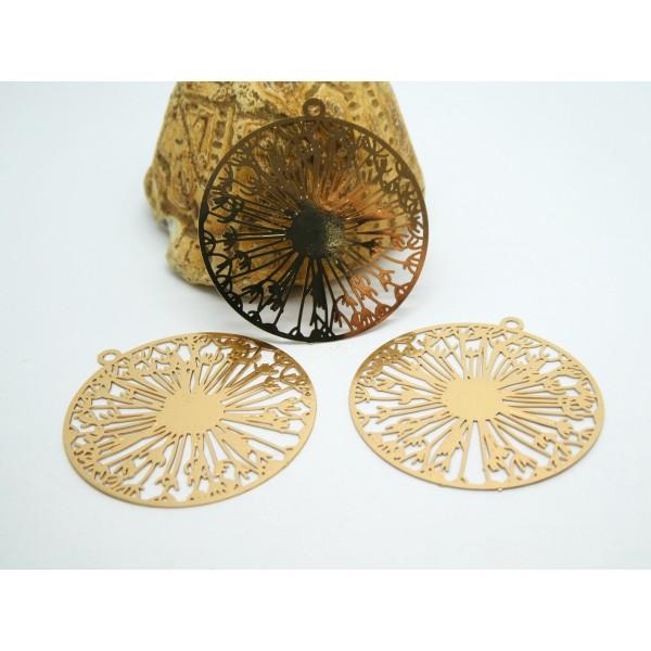 2 Estampes filigranées rondes motif fleurs 32*31mm doré - Photo n°1