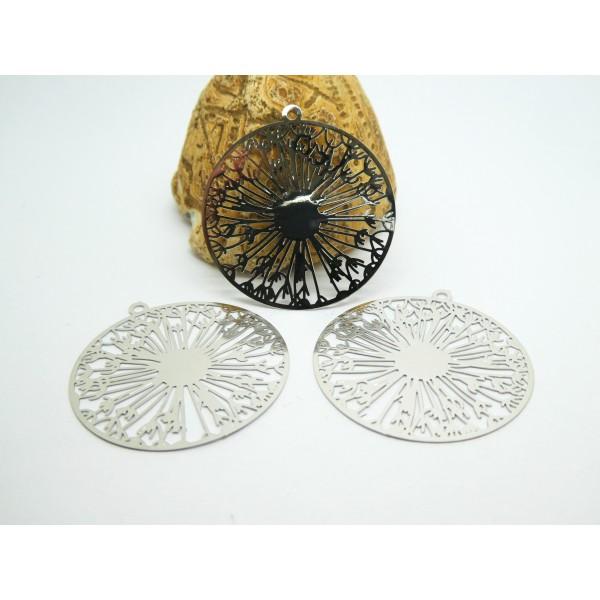 2 Estampes filigranées rondes motif fleur 32*31mm argenté - Photo n°1