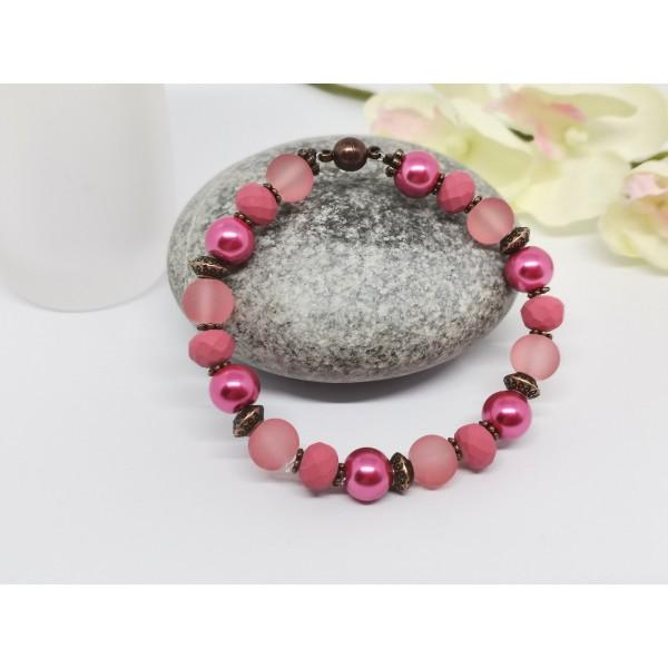 Kit bracelet ajustable perles en verre rose, fuchsia et framboise - Photo n°2