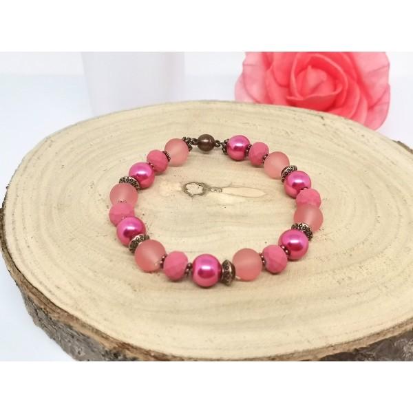 Kit bracelet ajustable perles en verre rose, fuchsia et framboise - Photo n°3