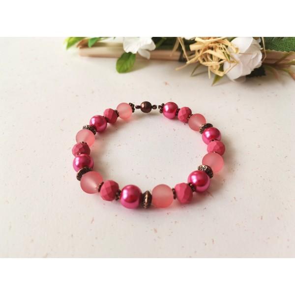 Kit bracelet ajustable perles en verre rose, fuchsia et framboise - Photo n°1