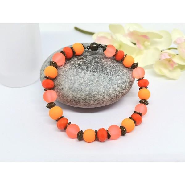 Kit bracelet ajustable perles en verre orange 18 cm - Photo n°2