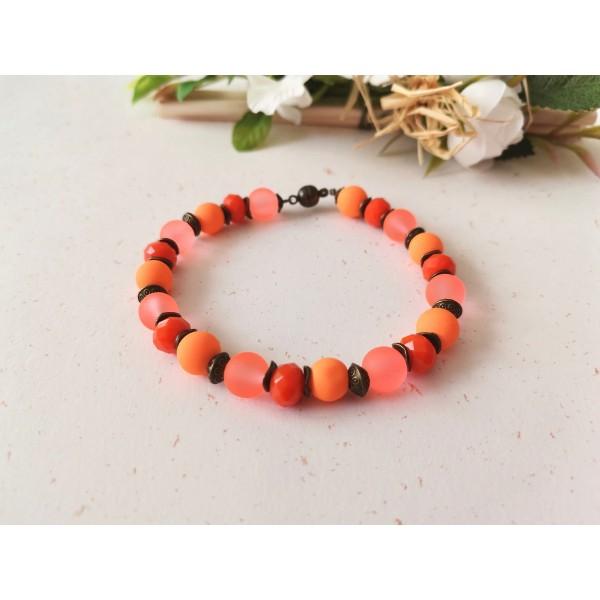 Kit bracelet ajustable perles en verre orange 18 cm - Photo n°1