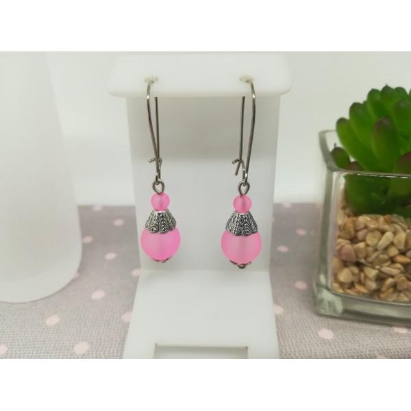 Kit de boucles d'oreilles argent mat et perle en verre rose - Photo n°1
