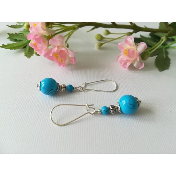 Kit boucles d'oreilles apprêt argent mat et perle bleu tréfilé noir - Photo n°2