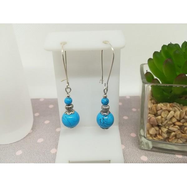 Kit boucles d'oreilles apprêt argent mat et perle bleu tréfilé noir - Photo n°1
