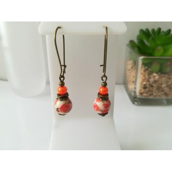 Kit boucles d'oreilles apprêts bronze et perle en verre motif fleur orange - Photo n°1