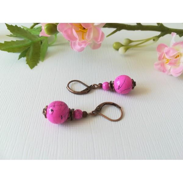 Kit de boucles d'oreilles apprêts cuivre rouge et perle en verre tréfilé rose - Photo n°2