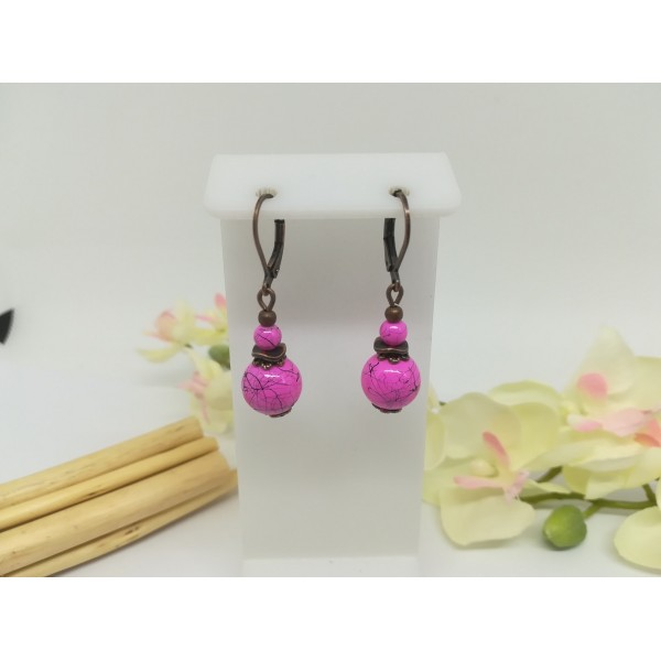 Kit de boucles d'oreilles apprêts cuivre rouge et perle en verre tréfilé rose - Photo n°1