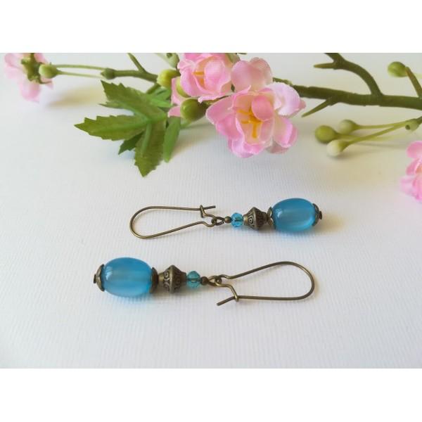 Kit de boucles d'oreilles apprêts bronze et perle en verre bleue - Photo n°1