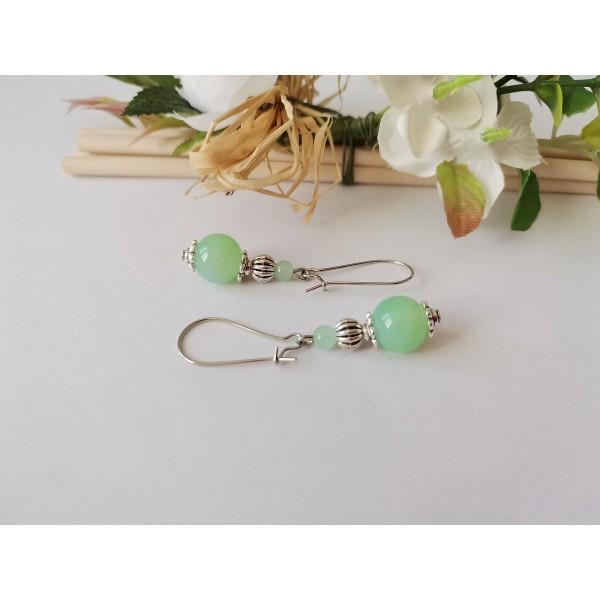 Kit de boucles d'oreilles perles imitation jade vert clair - Photo n°2