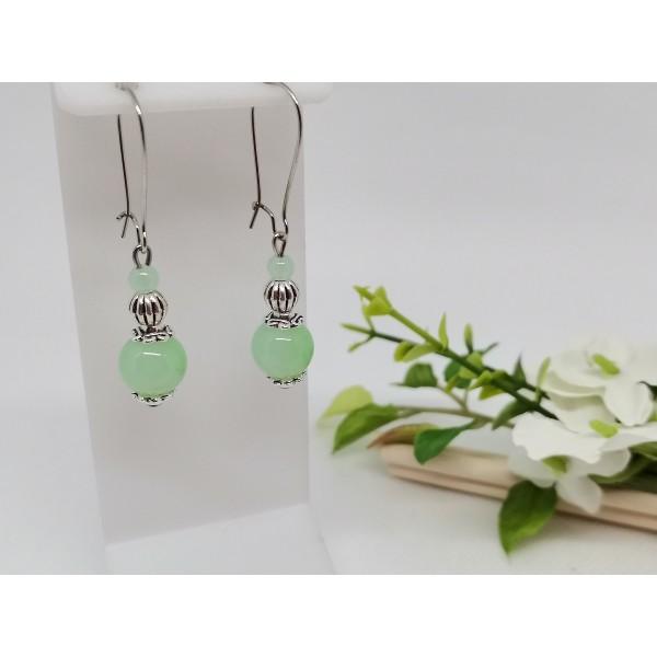 Kit de boucles d'oreilles perles imitation jade vert clair - Photo n°1