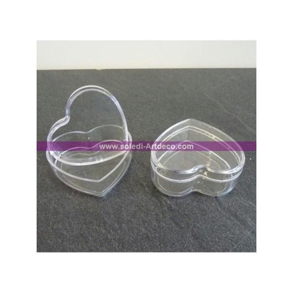 Lot de 3 Boites contenants dragées en plastique forme Coeur, Longueur 6 cm - Photo n°1