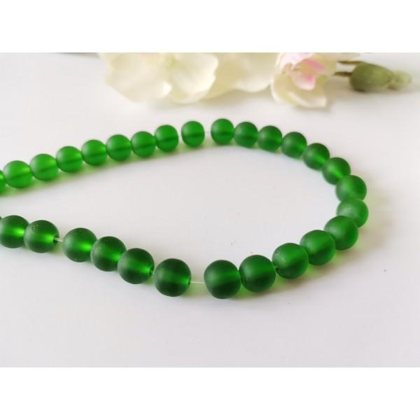 Perles en verre dépoli 8 mm vert foncé x 20 - Photo n°1