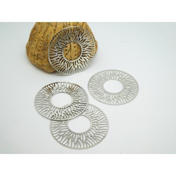 4 Estampes filigranées rondes Soleil 30mm argenté - Photo n°1